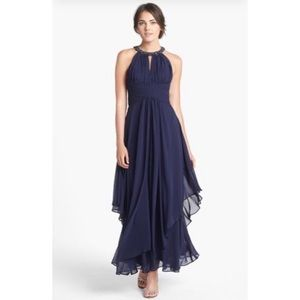 Eliza J Navy Blue Gown Beaded Formal
